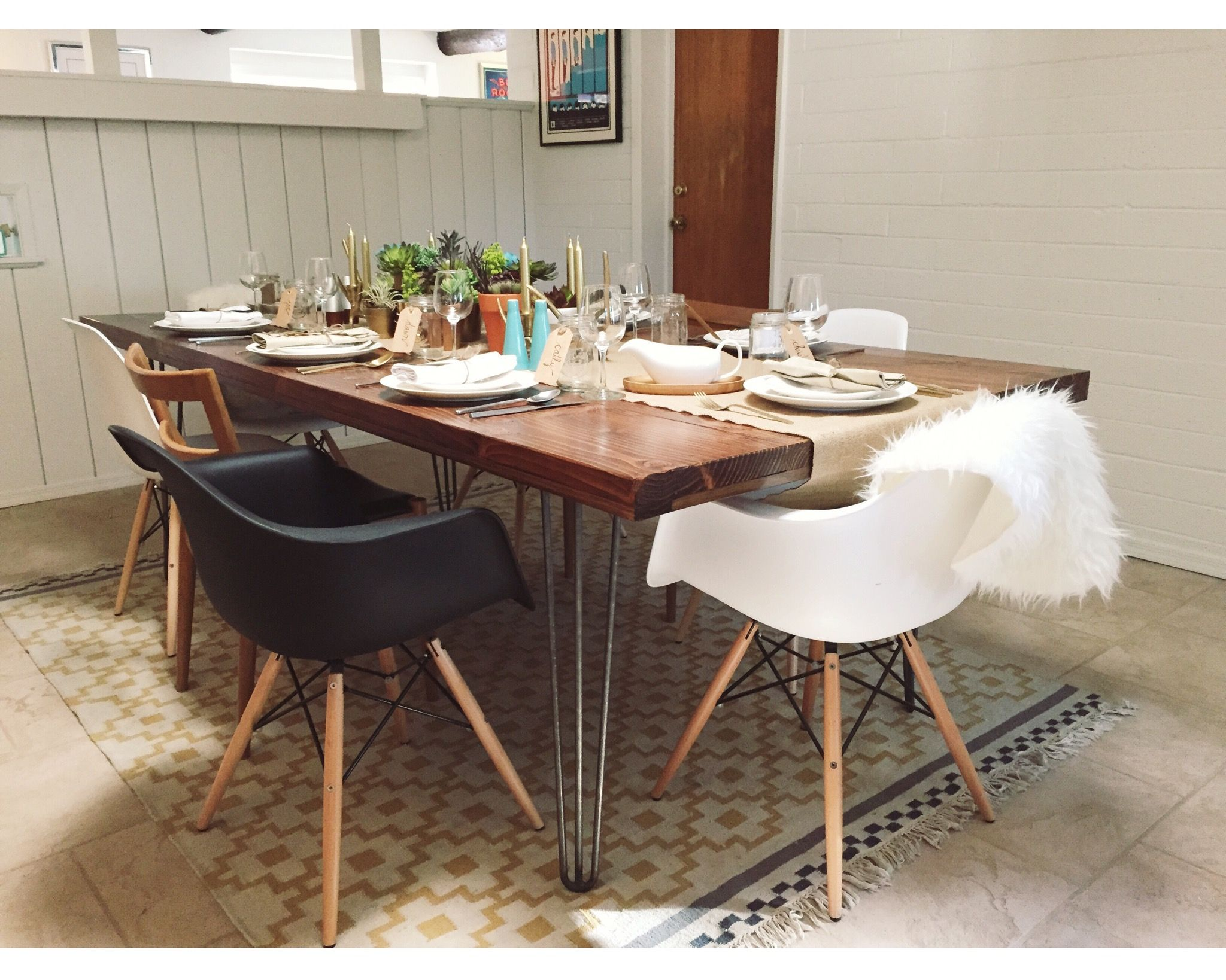 Farmhouse Dining Table DIY Special Walnut Minwax Stain Hairpin Legs