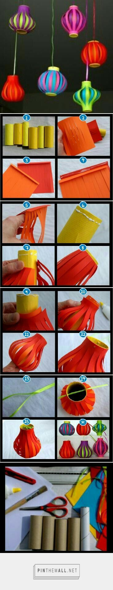 Clever use for toilet paper rolls and fun way to make lanterns