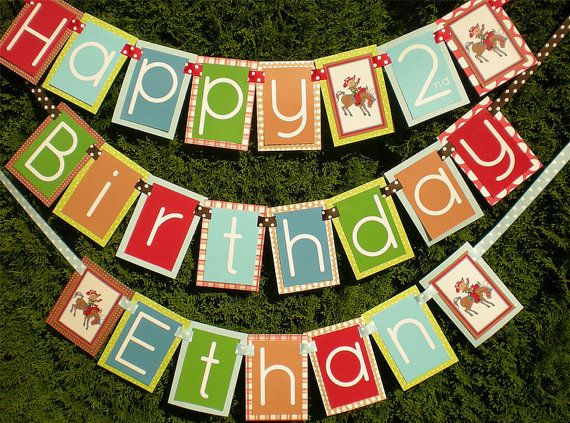 Cowboy Birthday Party Banner by PartyOnPurposeShop on Etsy, $45.00