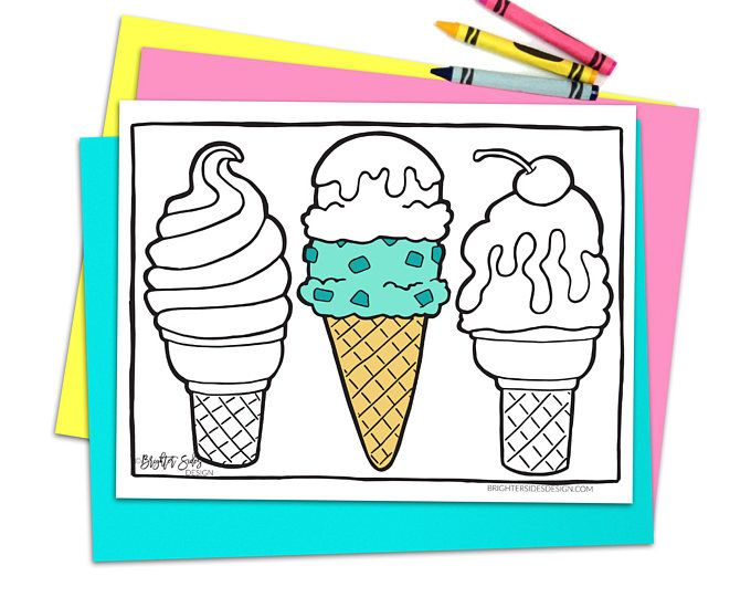 Printable Ice Cream Coloring Page