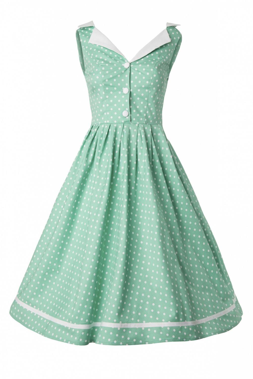 Bunny - 50s Karen dress in Mint Green Polka Dot | Pin-Up, Retro ...