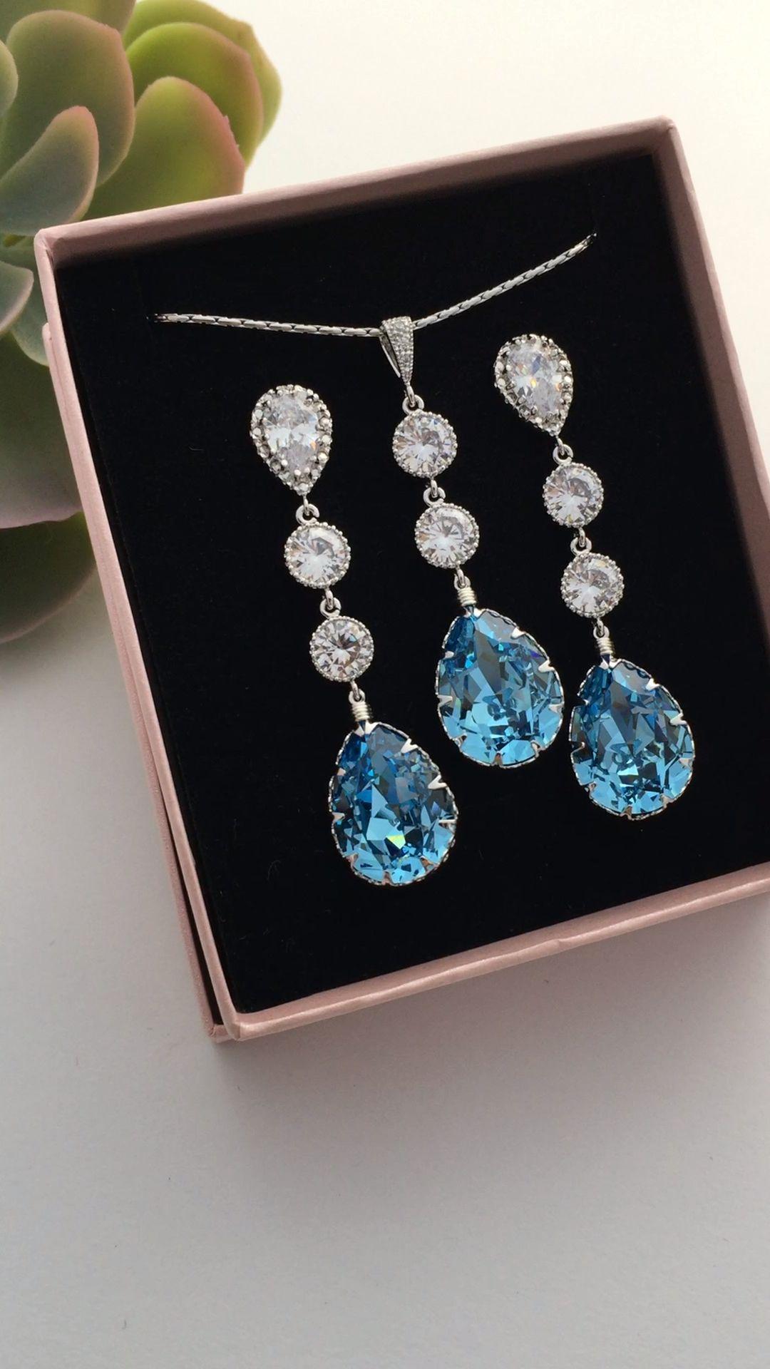 2e04a42cf Elegant luxurious Handmade Aquamarine Swarovski crystal bridal Jewelry set  from EarringsNation beach wedding aquamarine wedding garden wedding  something ...