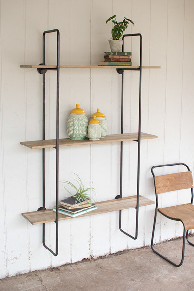 DIY inspiration-THREE TIERED METAL TUBE FRAME WALL SHELF WITH WOODEN SHELVES