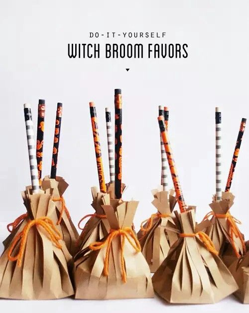 dont forget the treat bags i made these little witch broom favors last minute for my sons preschool halloween party after realizing the party wasnt on - Pinterest Halloween Treat Bags