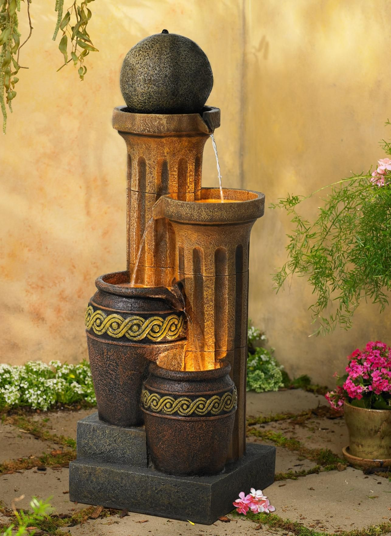 Sphere Jugs and Column Indoor Outdoor Fountain with Light