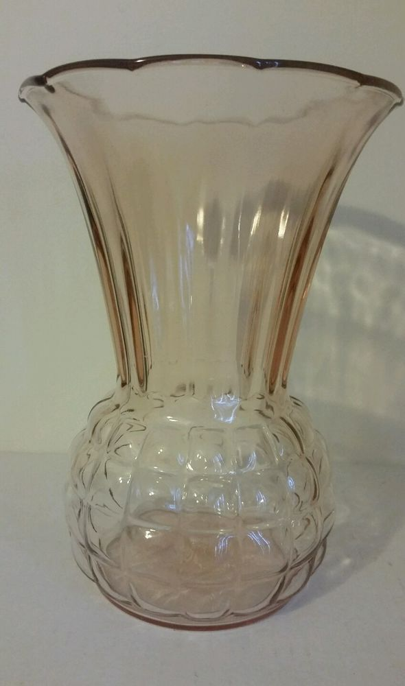 """Anchor Hocking * 9"""" Flared Vase * Pink * Pineapple Bubble Optic Depression in Pottery & Glass, Glass, Glassware 