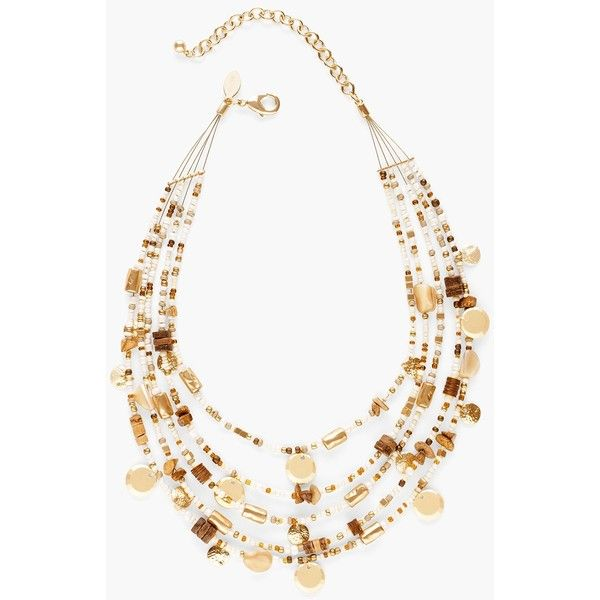 Chico's Anabel Illusion Necklace (€36) ❤ liked on Polyvore featuring jewelry, necklaces, neutral, beaded necklaces, wood necklace, wood jewelry, beaded jewelry and wooden beads jewellery