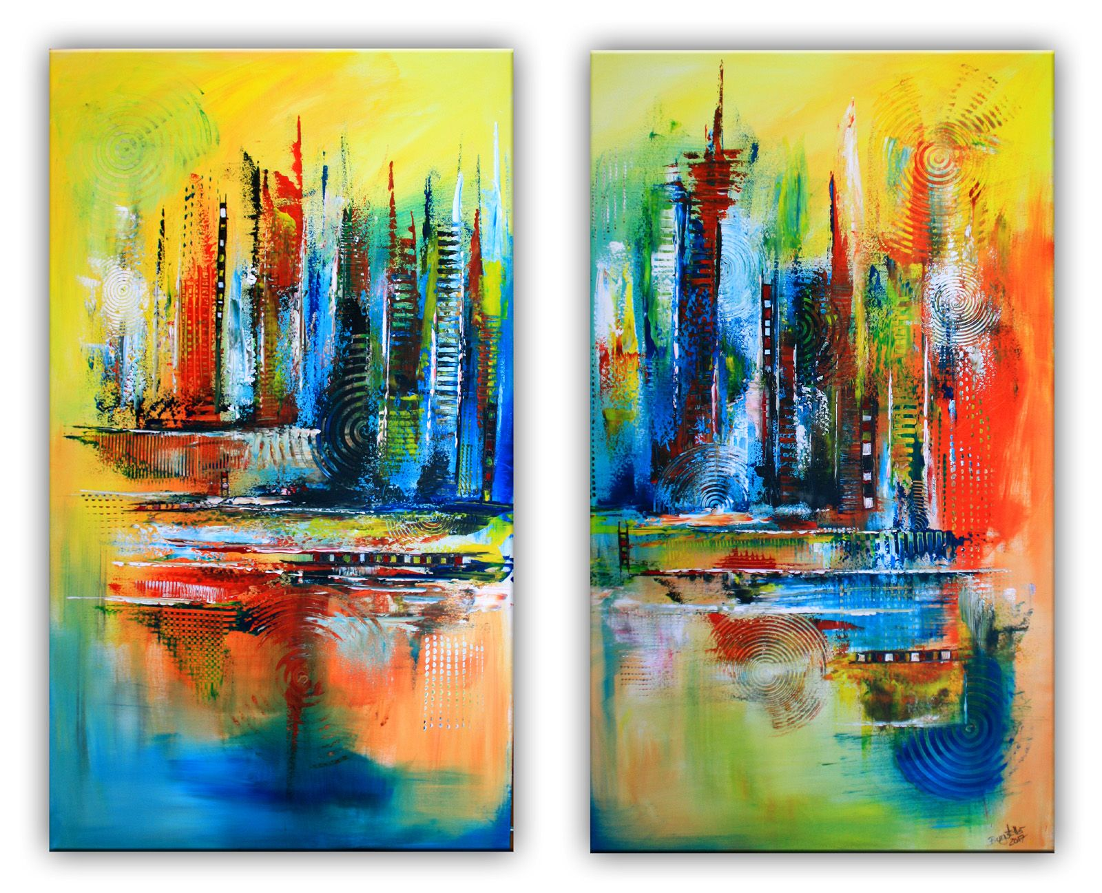 Himmelsleitern Abstrakte Malerei Rot Blau Gelb Zweiteilig