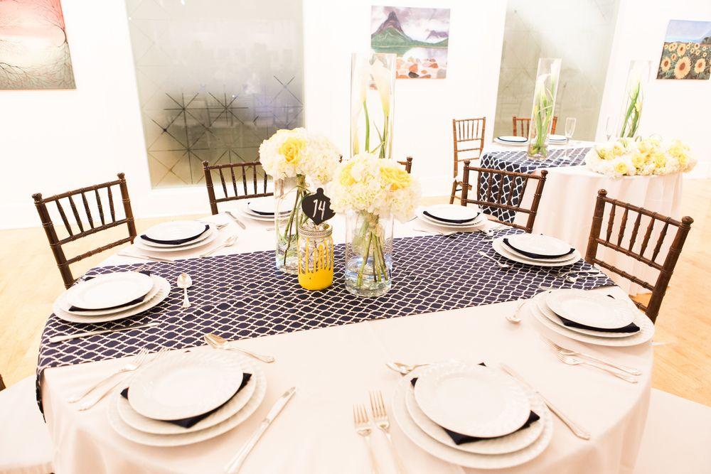 Yellow And Navy Wedding Table Settings