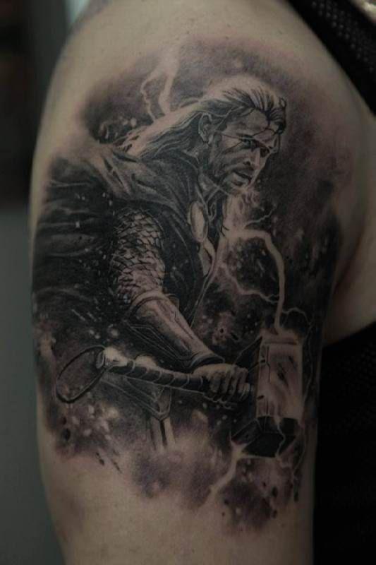 Thors Hammer Back Piece Wikinger Tattoo Wikinger 12