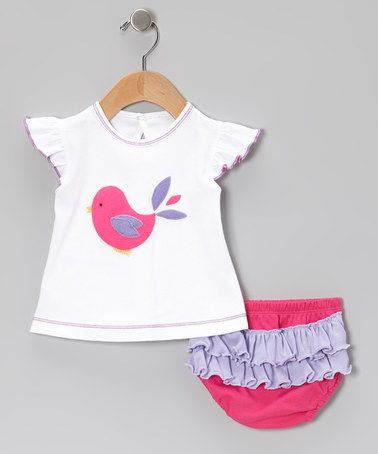 Another great find on #zulily! Hot Pink Bird Tee & Ruffle Diaper Cover - Infant #zulilyfinds