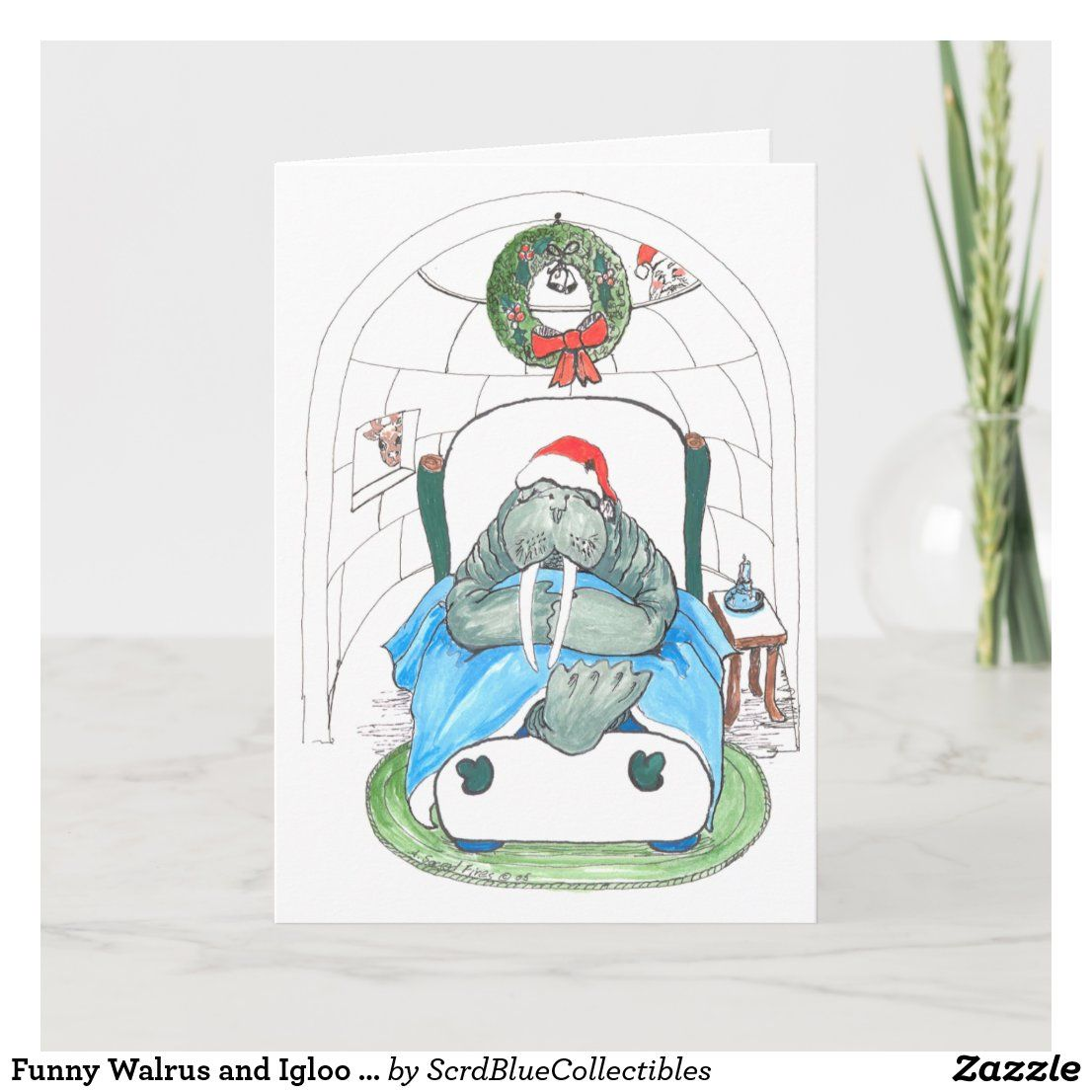 Wildlife Christmas Cards 2020 Funny Walrus and Igloo Wildlife Christmas Card | Zazzle.in