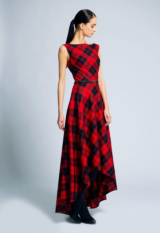 Красное платье в диагональную клетку | образы ... Тартан Платье