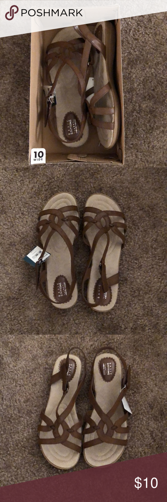 10 wide Basic Editions Shoes Sandals
