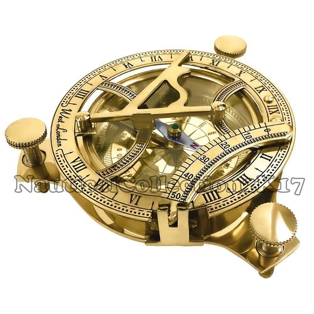 NAUTICAL HAND-MADE SOLID BRASS WORKING 3 INCHES SUNDIAL COMPASS MARINE GIFT