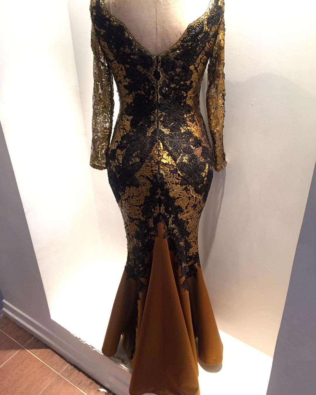Back view #deolabydeolasagoe #weddingguest #black #gold #lace #sequins #dress #bespoke