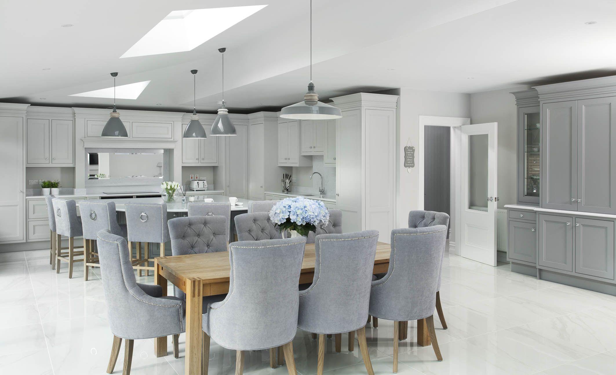 Grey White And Oak Kitchen Open Plan Kitchen Living