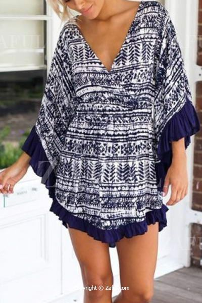 Printed Flounce Splicing Long Sleeve Dress
