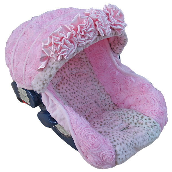 baby car seat cover canopy cotton set fit most seat 3D pink white grey flower