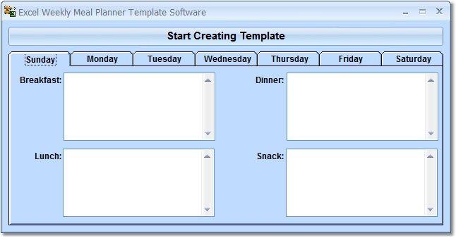Screenshot Of ExcelWeeklyMealPlannerTemplateSoftware  Adult