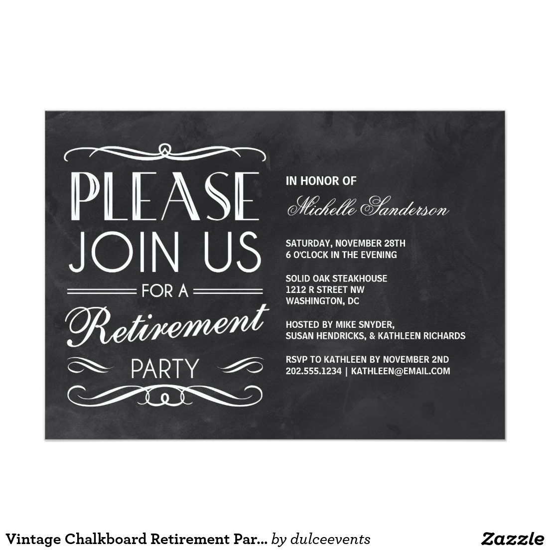 Vintage Chalkboard Retirement Party X Paper Invitation Card