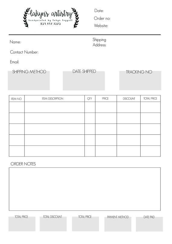 Custom Order Form, Business organizer, Branded Staionery, Order - custom order form