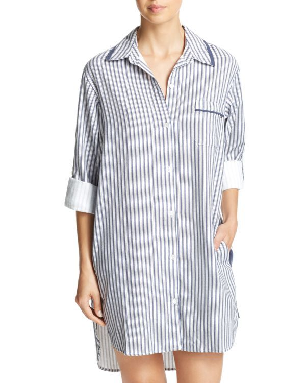 Dkny Intimates Long Sleeve Flannel Boyfriend Sleepshirt