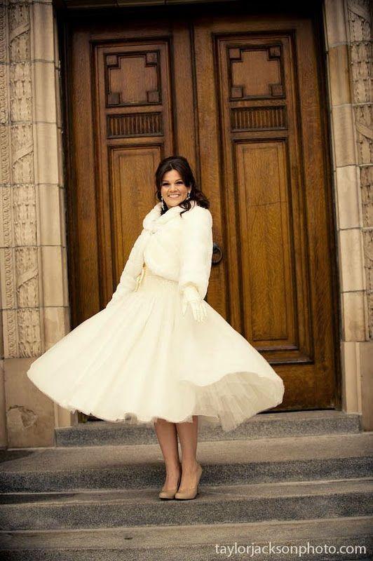 Short wedding dress with fur coat winter weddings for Winter tea length wedding dresses