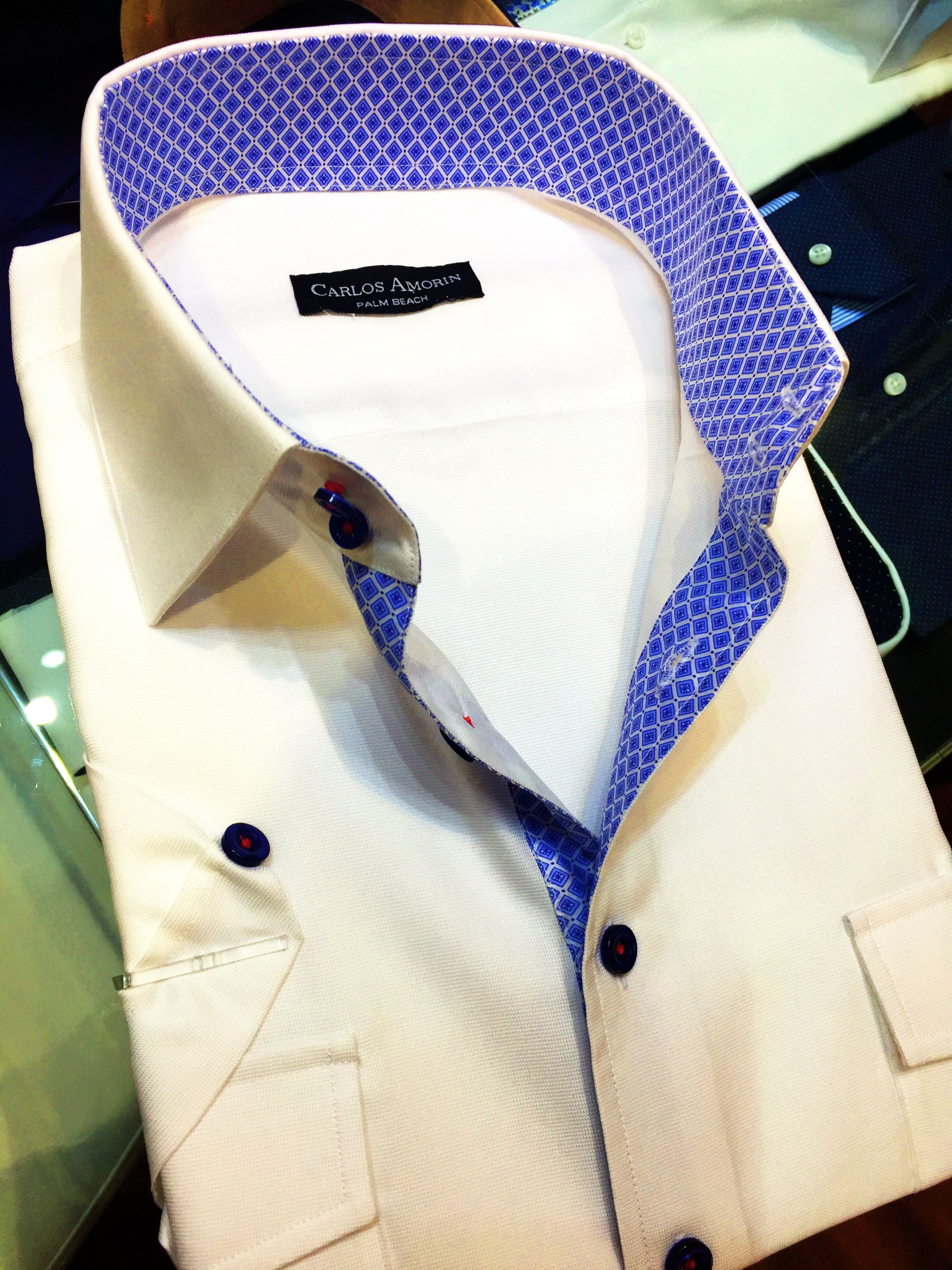 White Shirt With Blue Striped Borders Check More About Custom Made