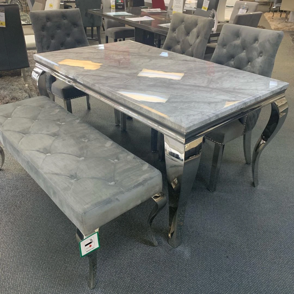 Louis 180cm Grey Marble Dining Table Only In 2020 Dining Table Marble Dining Dining Table Marble