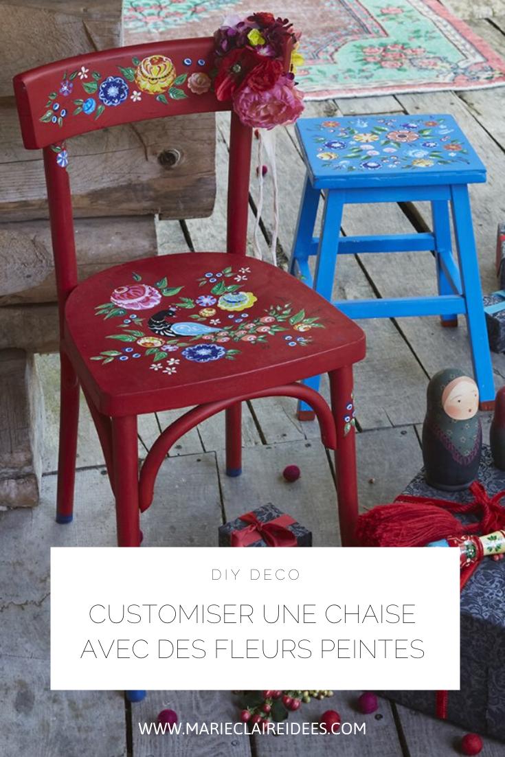 Tuto Deco Peindre Des Motifs Fleuris Sur Des Chaises Customiser Chaise Chaises De Cuisine Peintes Customiser Chaise Bois