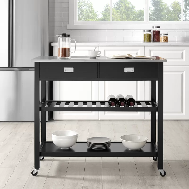 Mercury Row Ansell Kitchen Island With Stainless Steel Top Kitchen Tops Chloe S Kitchen Kitchen Island Stainless Steel Top
