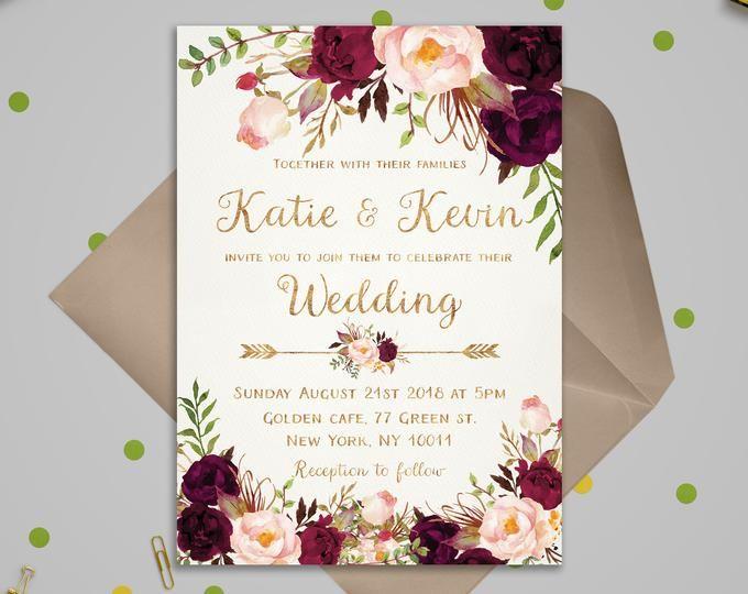 Burgundy Wedding invitation template Floral Weddin