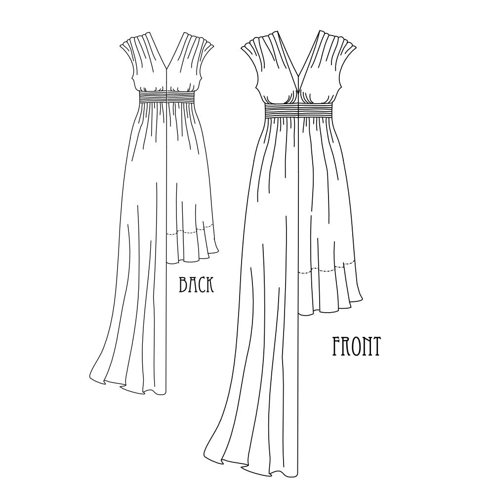 Grecian Sundress Technical Drawing   sew easy!!..   Pinterest ...