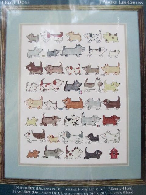 Needle Treasures Counted Crossstitch ~ I Love Dogs ~ 04641 Cross Stitch Kit  NIP #NeedleTreasures