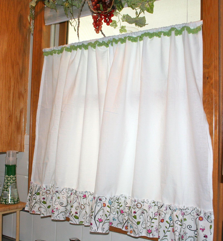 Farmhouse Chic Custom Ruffled Imperfect White Flour Sack Towel Curtains No Two Alike Green Pom Poms