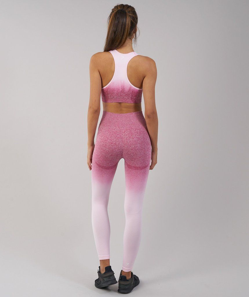 20532f4a24a7cd Gymshark Ombre Seamless Sports Bra - Chalk Pink/Beet 2 | clothing ...