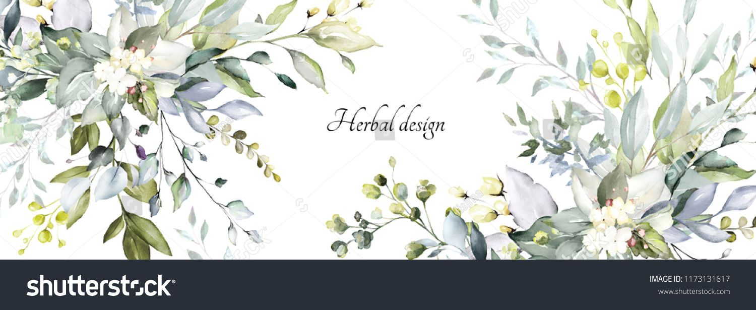 Botanical Design Horizontal Herbal Banners On White Background For Wedding Invitation Business Produ Web Banner Floral Invitations Template Floral Invitation