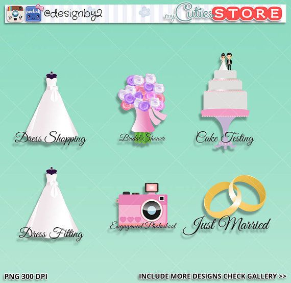 wedding icon cliparts just married cake photobooth bridal shower