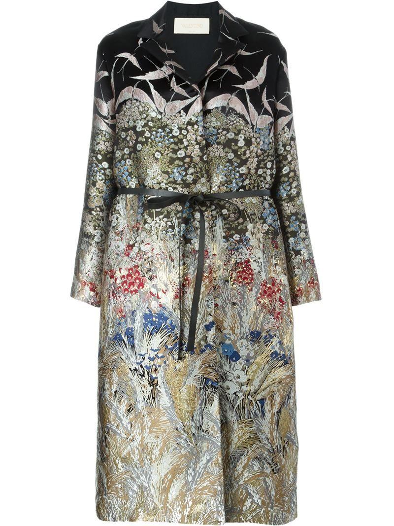 VALENTINO floral and bird jacquard coat