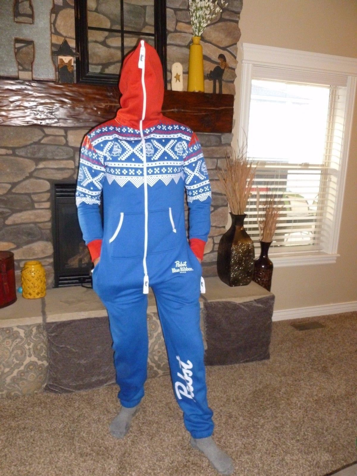 Pabst Blue Ribbon One Piece Body Ugly Christmas Sweater Party Beer