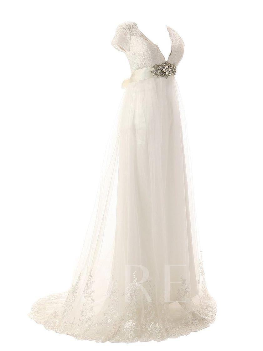28b4cfbbe4 Cap Sleeve Appliques Plus Size Beach Wedding Dress