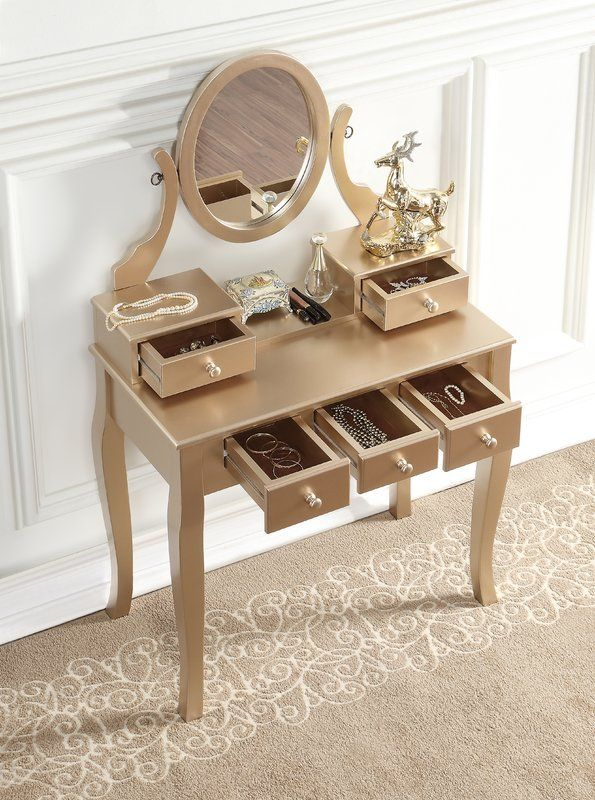 Zeke Wood Makeup Vanity Set With Mirror In 2019 Wood