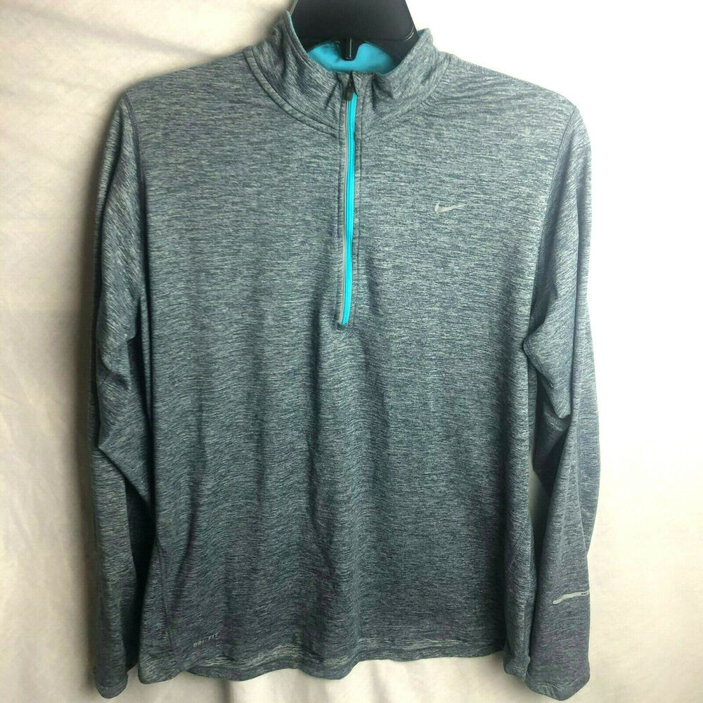 NWT Men NIKE Running 1//4 Zip Long Sleeve Teal Blue Dry Fit Active Shirt Size XL