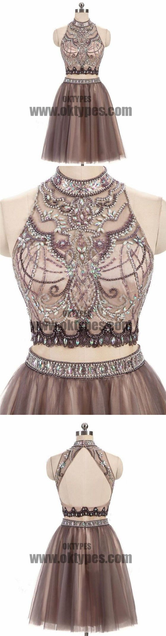 pieces high neck rhinestone beaded tulle homecoming dresses short