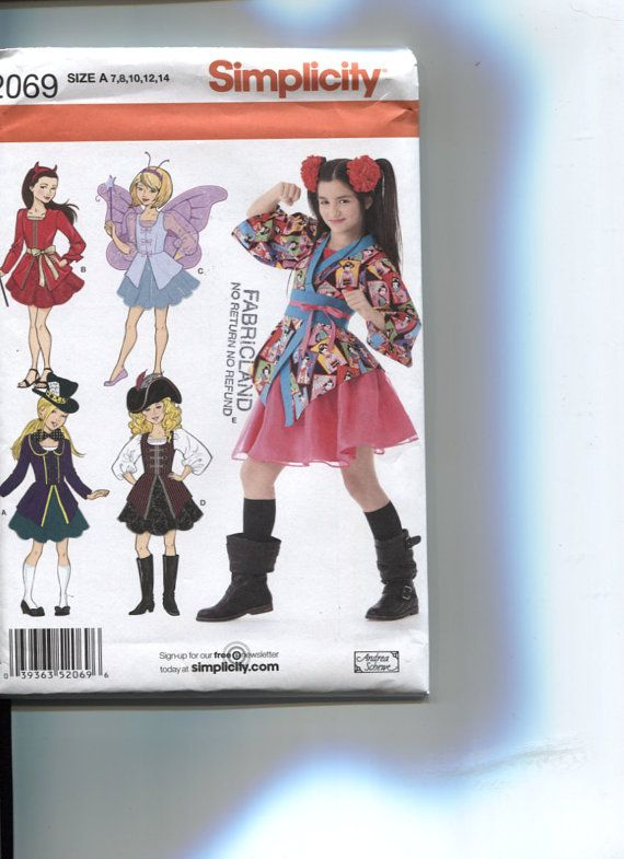 Simplicity 2069, Girls' Size 7 to 14 Halloween Costume Pattern ...