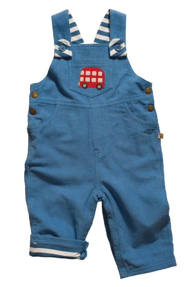 Frugi Organic Bus Dungarees 100 organic cotton Super stylish bus dungarees The main colour is blue and the lining is blue and white striped which