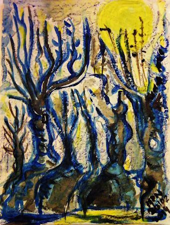 Willows By The Brook Wax Crayons Watercolor Paper Art