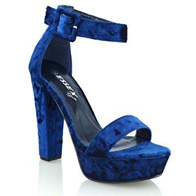 ee75d5d71c004e ESSEX Glam Damen knöchelriemen plateau synthetisches blockabsatz sandalen  Offene Pumps Absätze Sneaker Offene Sandalen Stiletto Ballerinas