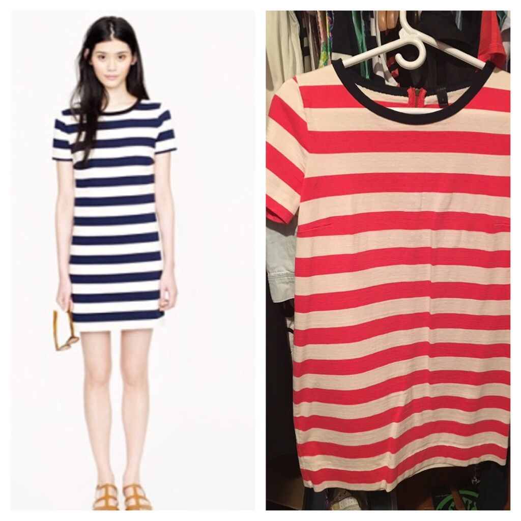 J Crew Rugby Stripe Dress In Papaya